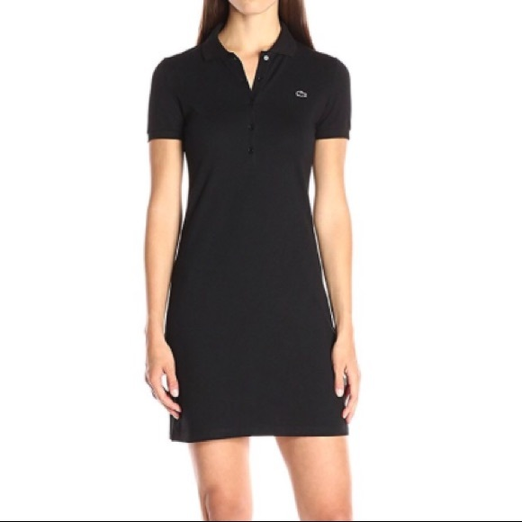 f48b77376338 Lacoste Dresses | Short Sleeve Mini Piqu Polo Dress Black | Poshmark